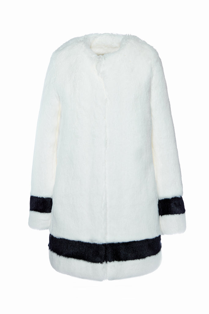 PETRA - White and Black Faux Fur Coat