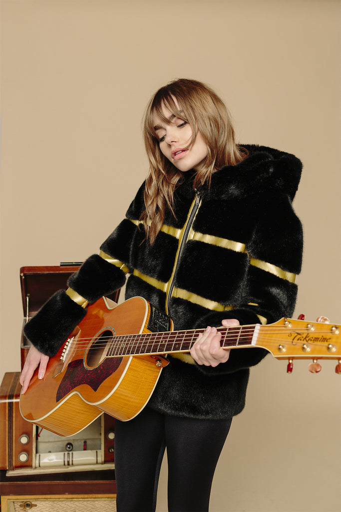 ROMY - Black & Gold Vegan Fur Leather Jacket