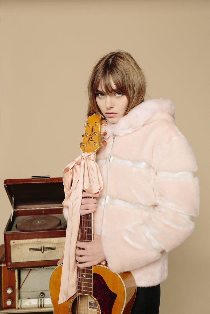 ROMY - Powder Pink & Transparent Faux Fur Vest