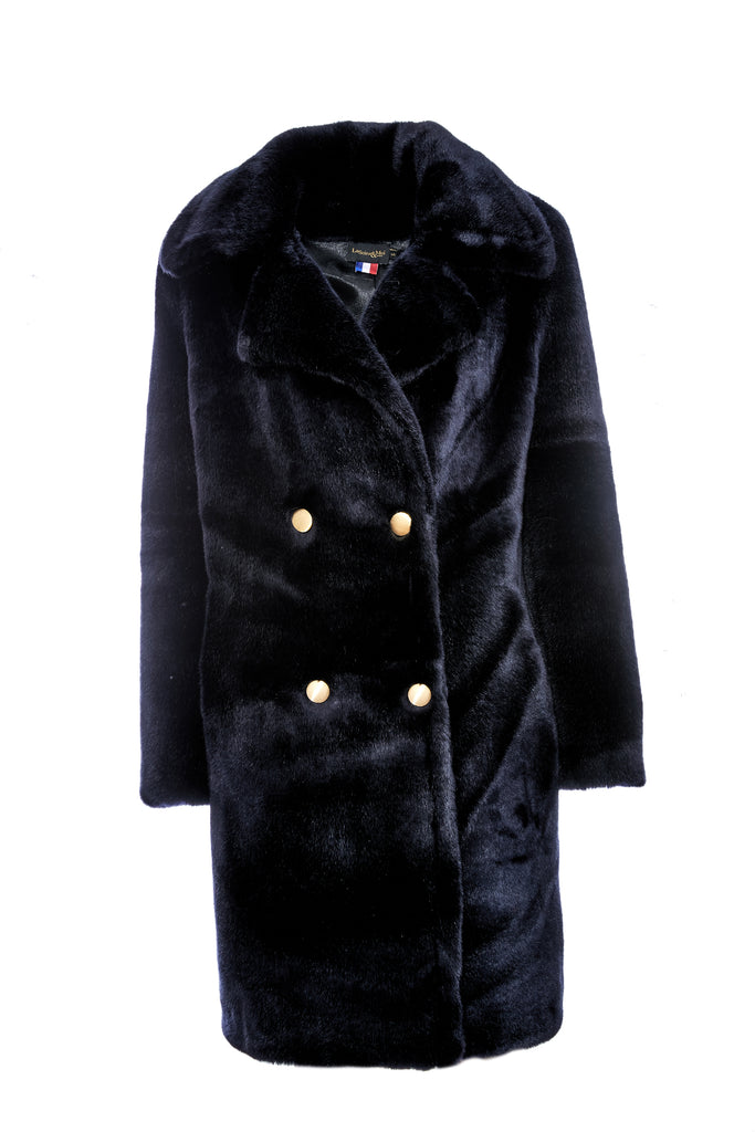 ALICE - Navy Faux Fur Coat