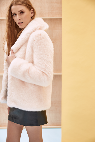 ANNA - Powder Pink Faux Fur Coat