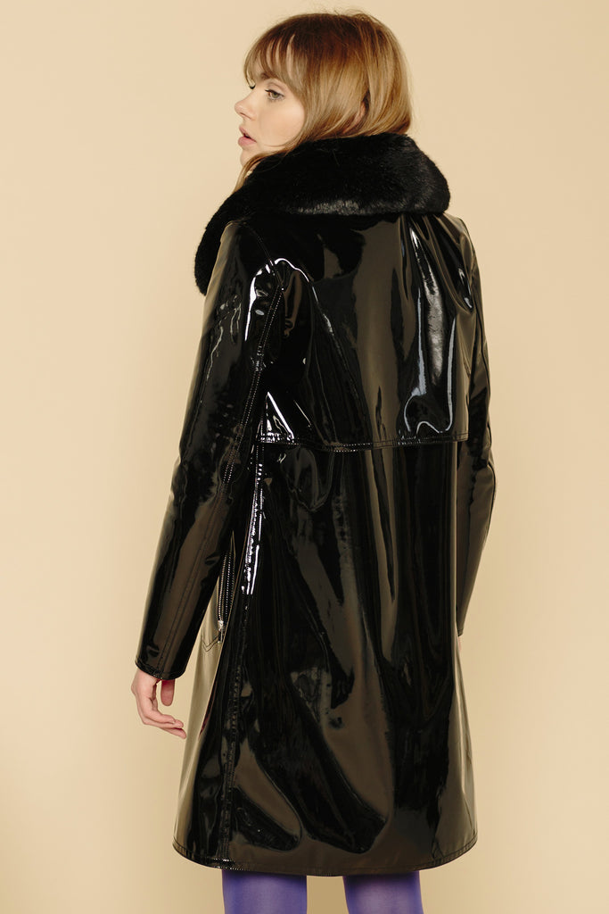 CAMILLE - Black Vinyl Raincoat