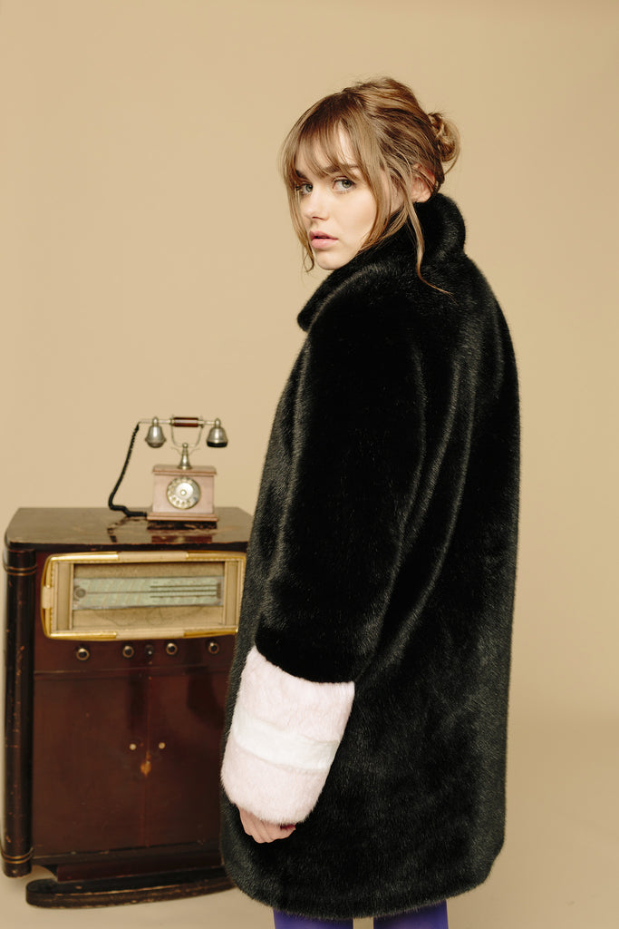 CARENE - Black & Powder Pink Faux Fur Coat