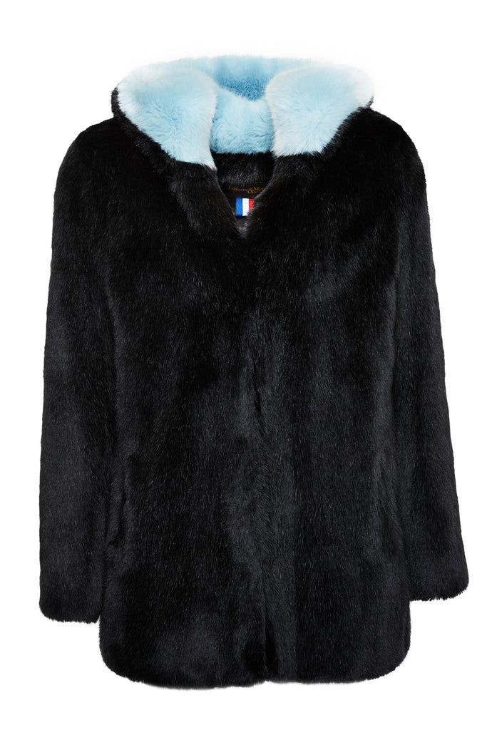 CATHERINE - Black Faux Fur coat