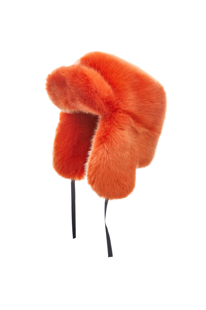RAPHAEL - Orange Faux Fur Chapka
