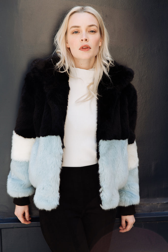 EMMA - Blue Heaven Faux Fur Bomber