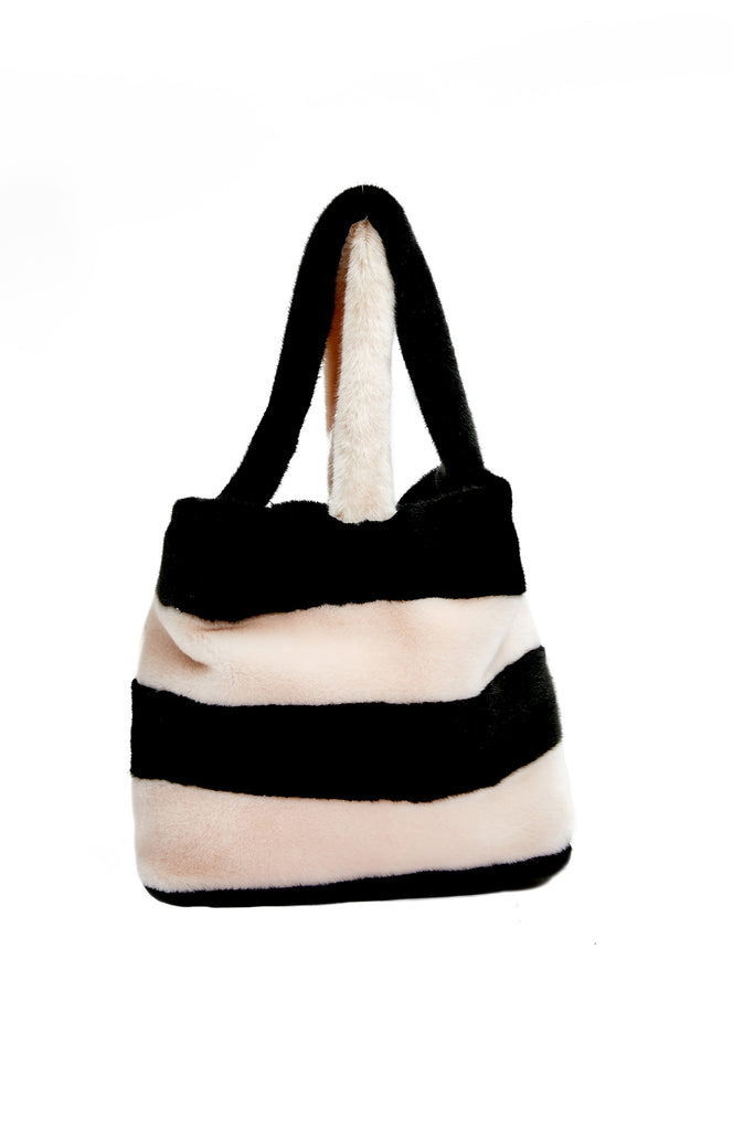 CABAS - Black & Pink Faux Fur Bag