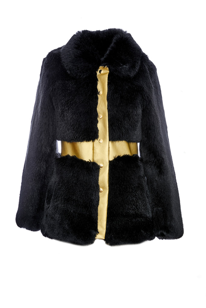 CLAUDIA - Black & Gold vegan leather fur