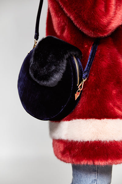 KANDY X LOUVREUSE - Navy Faux Fur Handbag