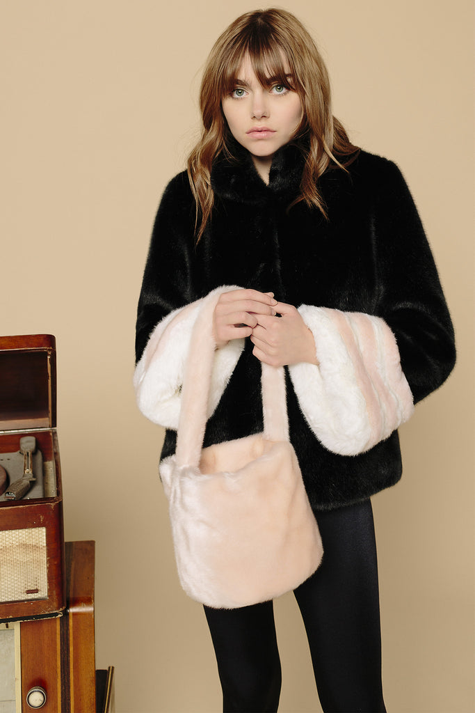 FRANÇOISE - Black & Powder Pink Faux Fur Jacket