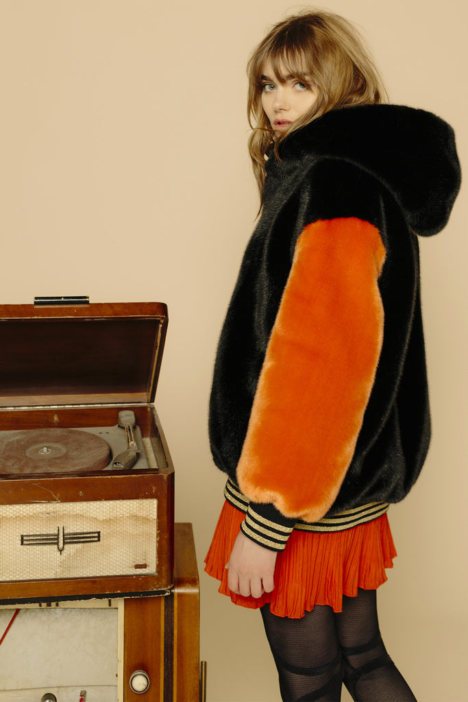 LÉONE - Black & Orange Faux Fur Bombers