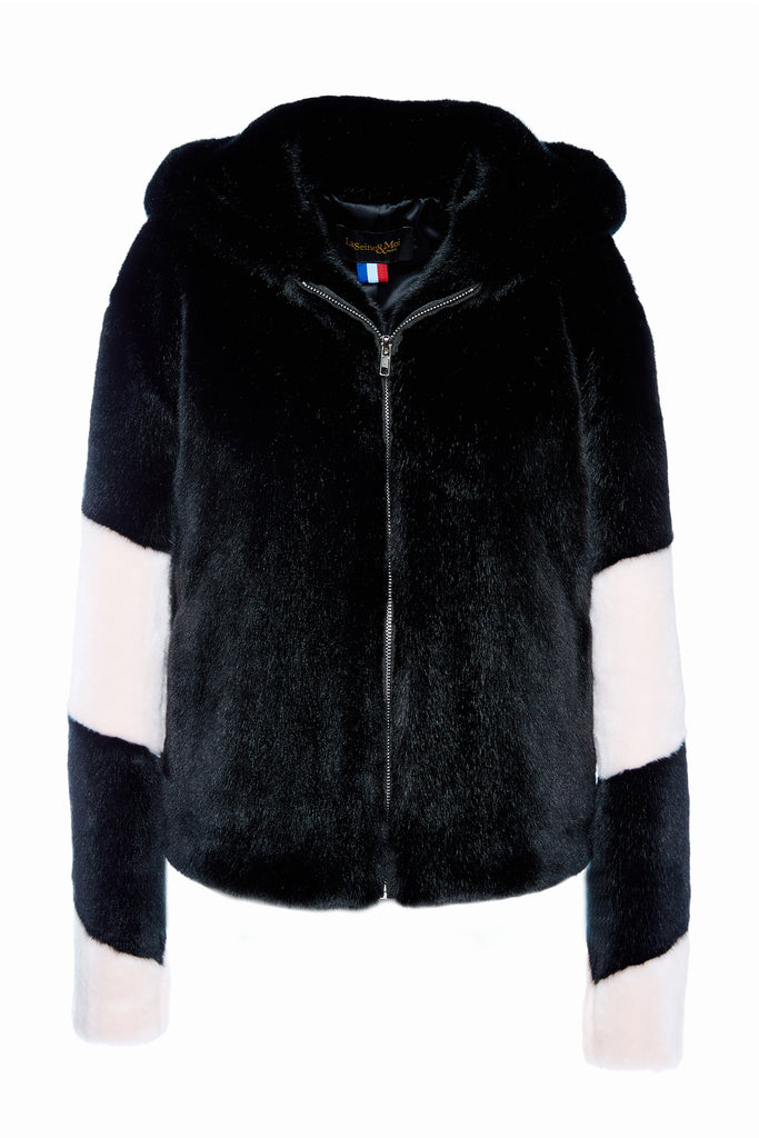 LISA - Black and Powder Pink Faux Fur Bomber