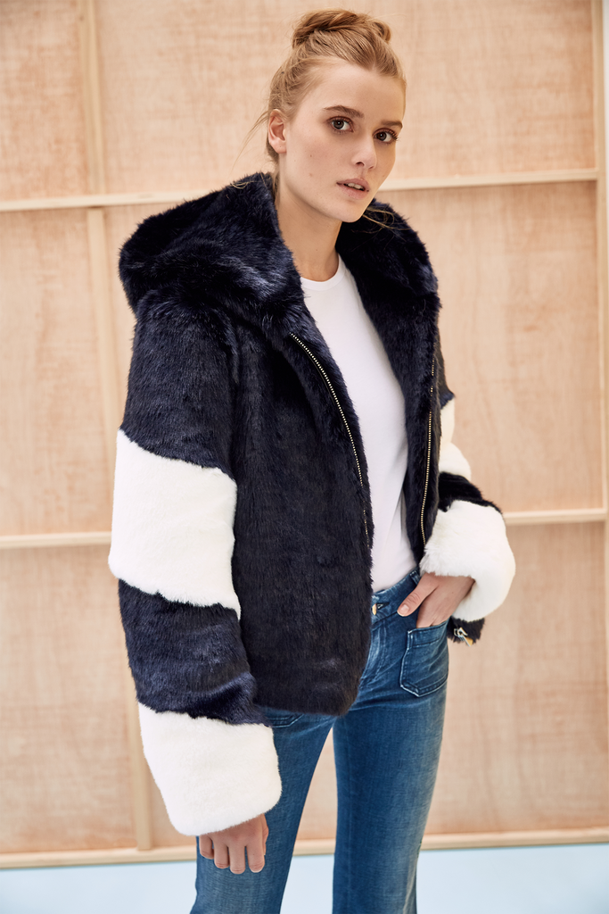 LISA - Navy Blue and White Faux Fur Bomber