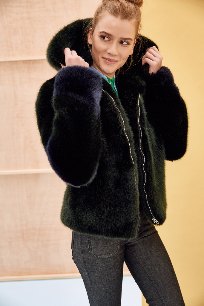 LISA - Dark Green and Navy Blue Faux Fur Bomber