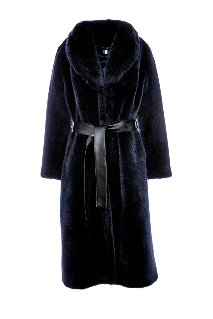 LÉA - Navy Faux Fur Coat