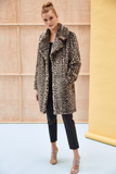 LOUVE - Leopard Grey Faux Fur Coat