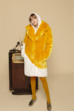 AURORE - Yellow & White Faux Fur Coat