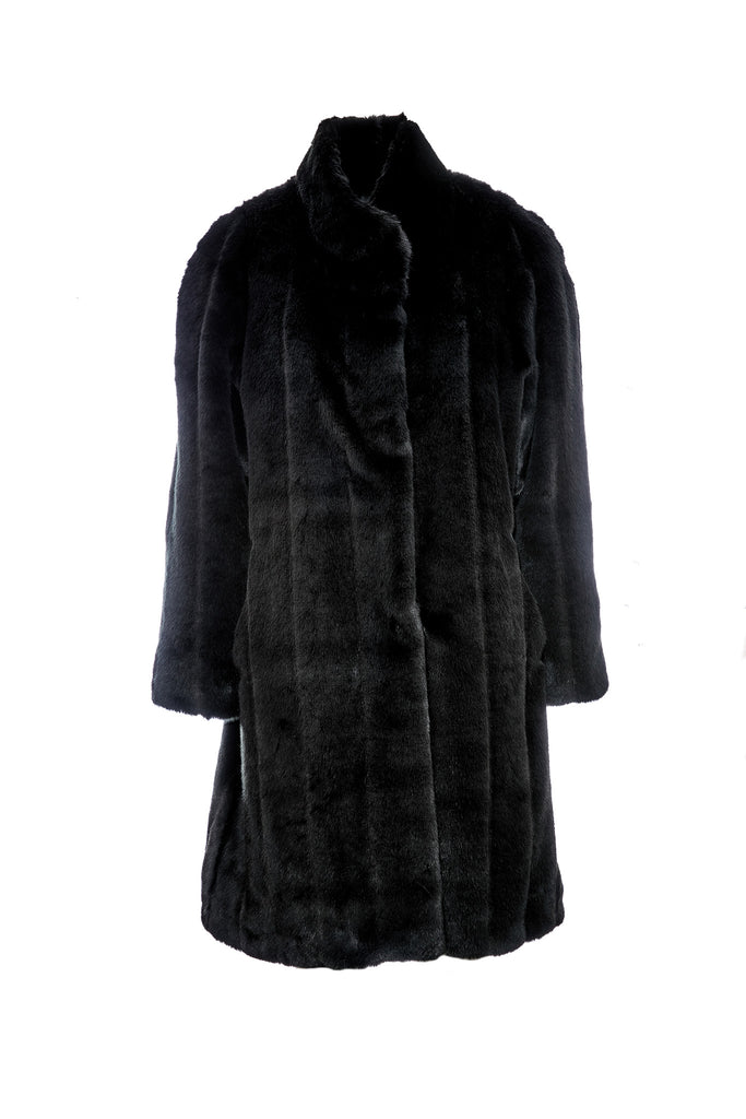 MAYA - Black Mink Faux Fur Coat