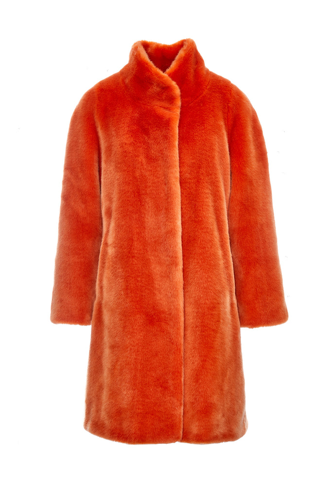 MAYA - Orange Faux Fur Coat