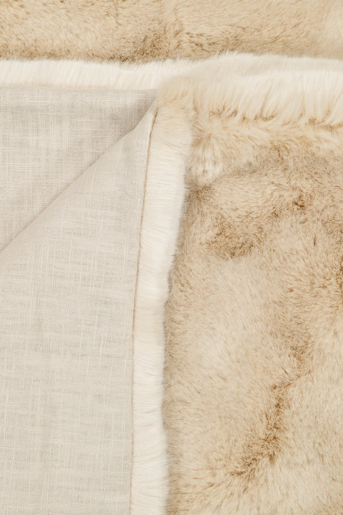 ALMOND PLAID - Beige faux fur
