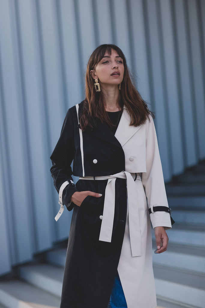 Black Beige Trench