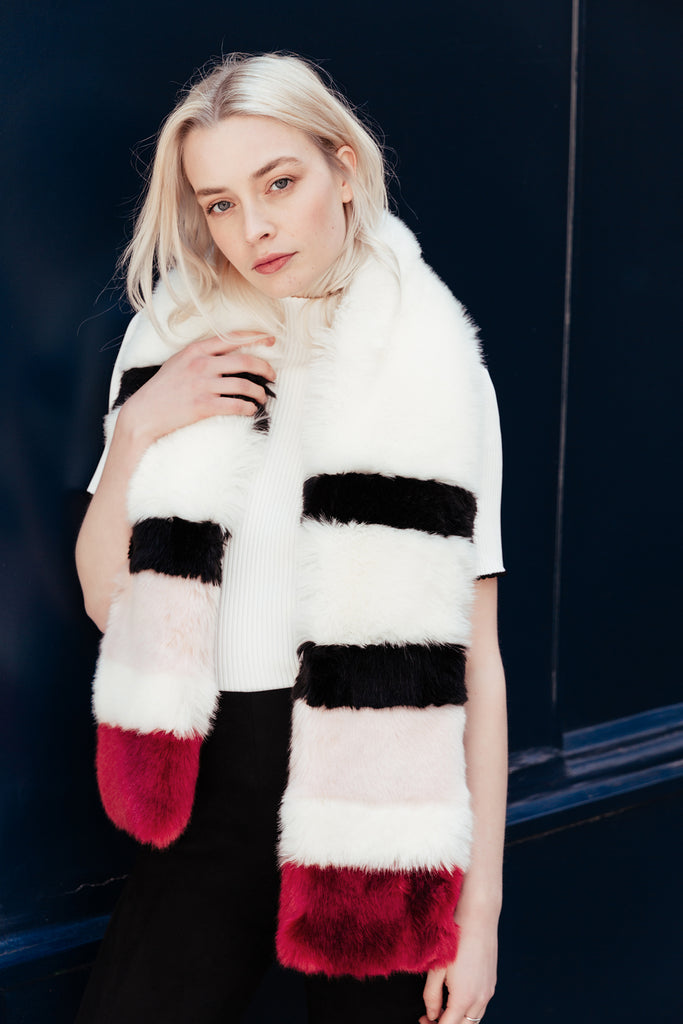 STELLA - Twister White Faux Fur Scarf