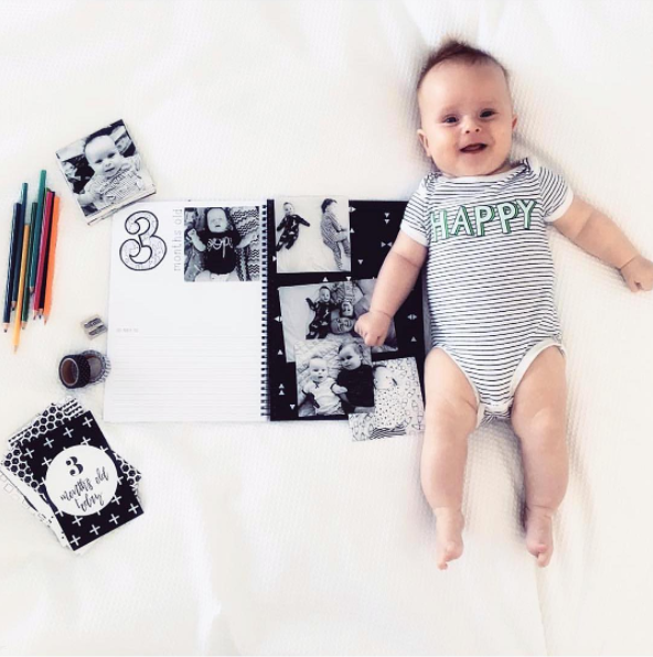 Monochrome Baby Book - Modern Fun Stylish Baby Journal