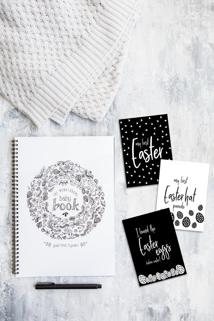 The Monochrome Baby Book // free printable Easter Photo Cards