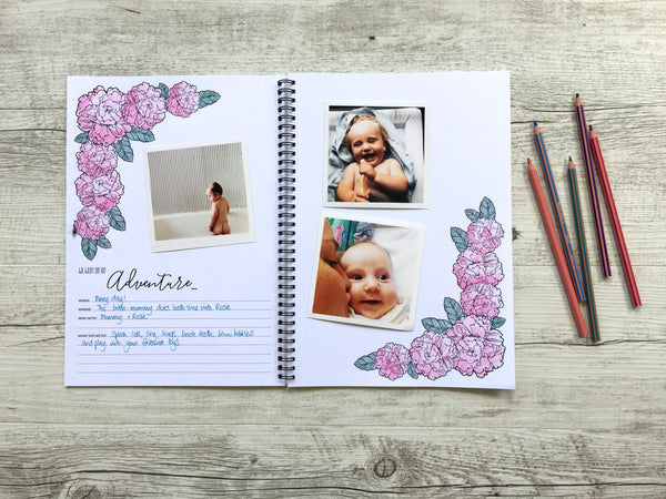baby book // custom baby book // modern baby memory book // baby memory book // motherhood journal // monochrome baby book // scrapbooking baby book // colouring in // adult colouring in