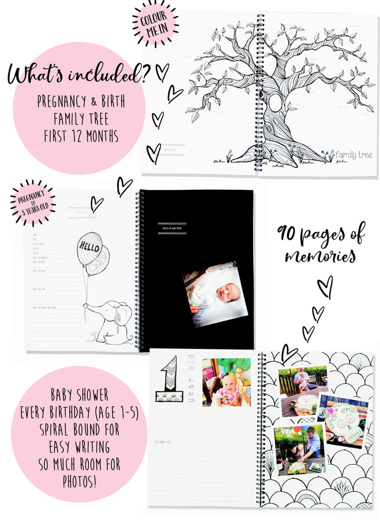 Blueberry Co Monochrome Baby Book, the modern baby keepsake book you can colour in. Relax with our Monochrome baby milestone book and first year book. It's the 90 page baby journal to suit any family.