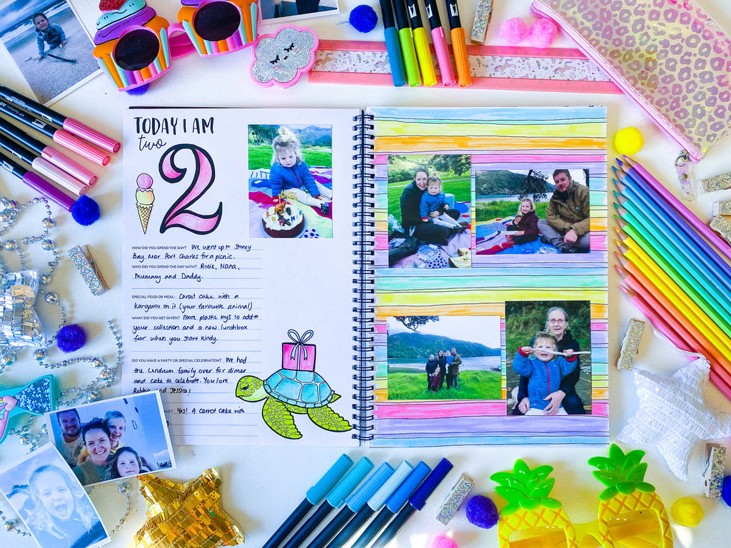 Birthday Memory Book | 18 birthdays with your tiny VIP | Blueberry Co |The birthday memory book to document the first 18  years with your growing tiny VIP