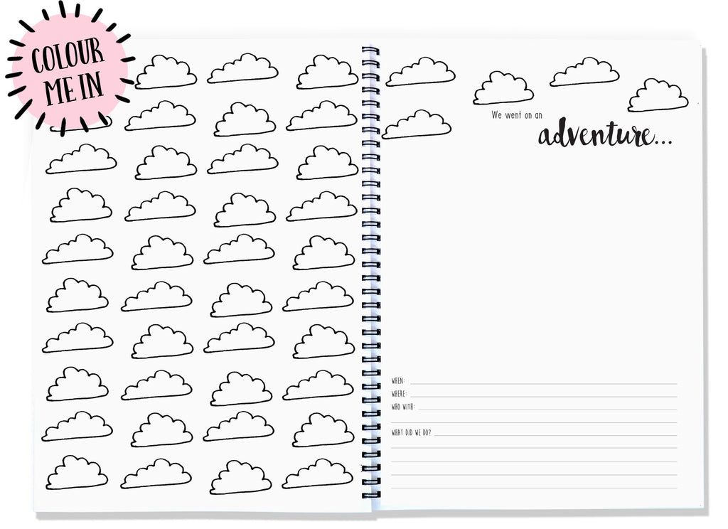 Blueberry Co Adventure Pack - document the adventures with your loved ones - A4 memory journal - the memory book you can colour in - motherhood journal family history, fatherhood journal www.blueberryco.com.au