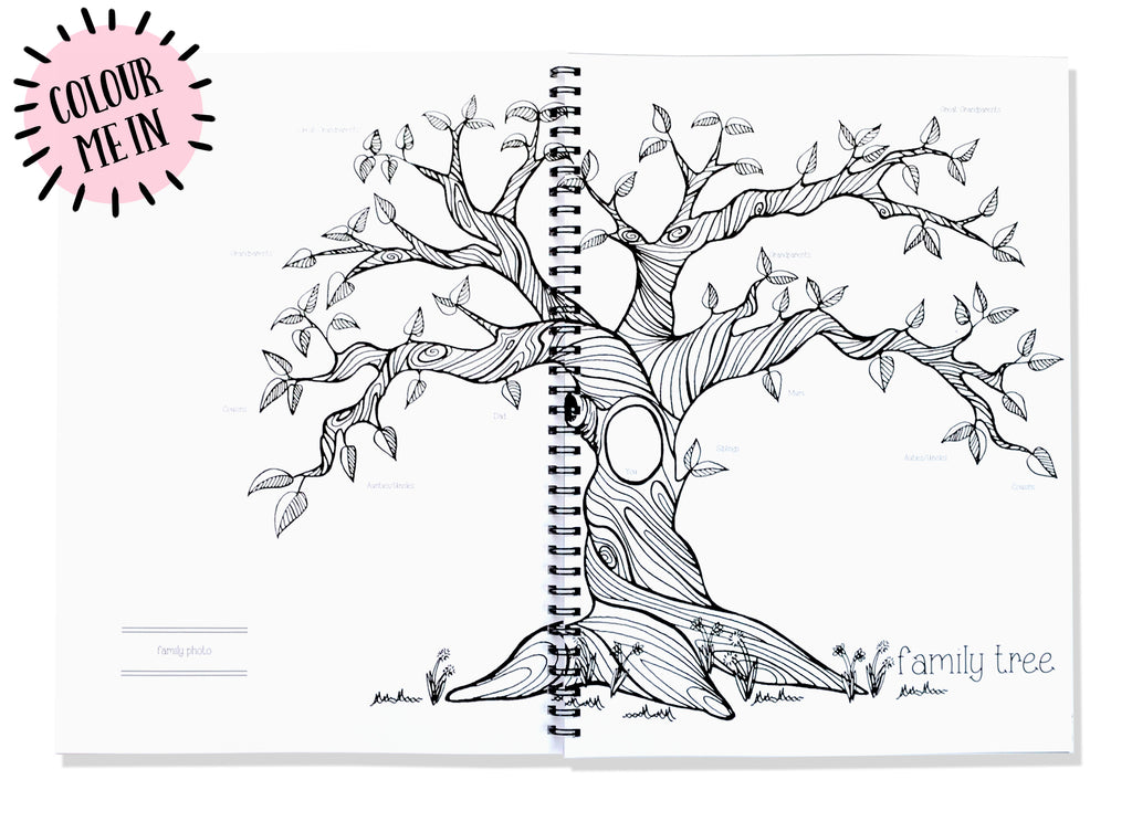 Blueberry Co Monochrome Baby Book the Modern Baby Memory Book - unisex, monochrome Baby journal and baby memory journal features include family tree, family history. The memory book you can colour in. Neutral baby memory book including pregnancy journal, first year book, baby memory book diy and baby scrapbook. www.blueberryco.com.au