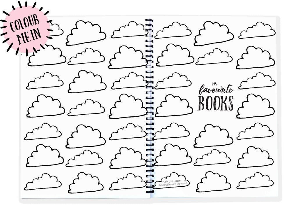 Blueberry Co Monochrome Toddler Book • unisex • colouring in • Monochrome Baby Journal // memory book // toddler tantrums // favourite books // recording toddler fun // diy toddler crafts // journalling // parenting // baby gift // first birthday // second birthday // third birthday // fourth birthday // daycare // kindy // preschool www.blueberryco.com.au
