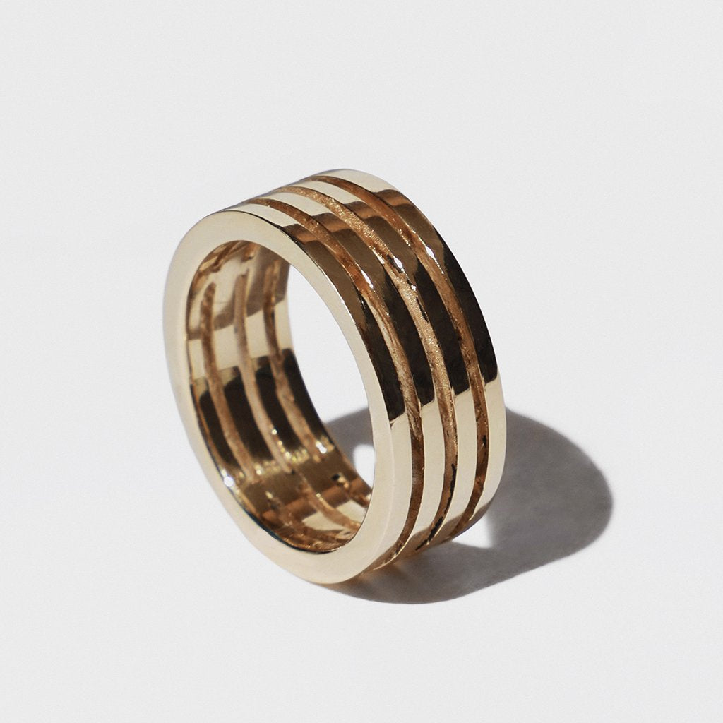 PARALLEL LINES GOLD RING