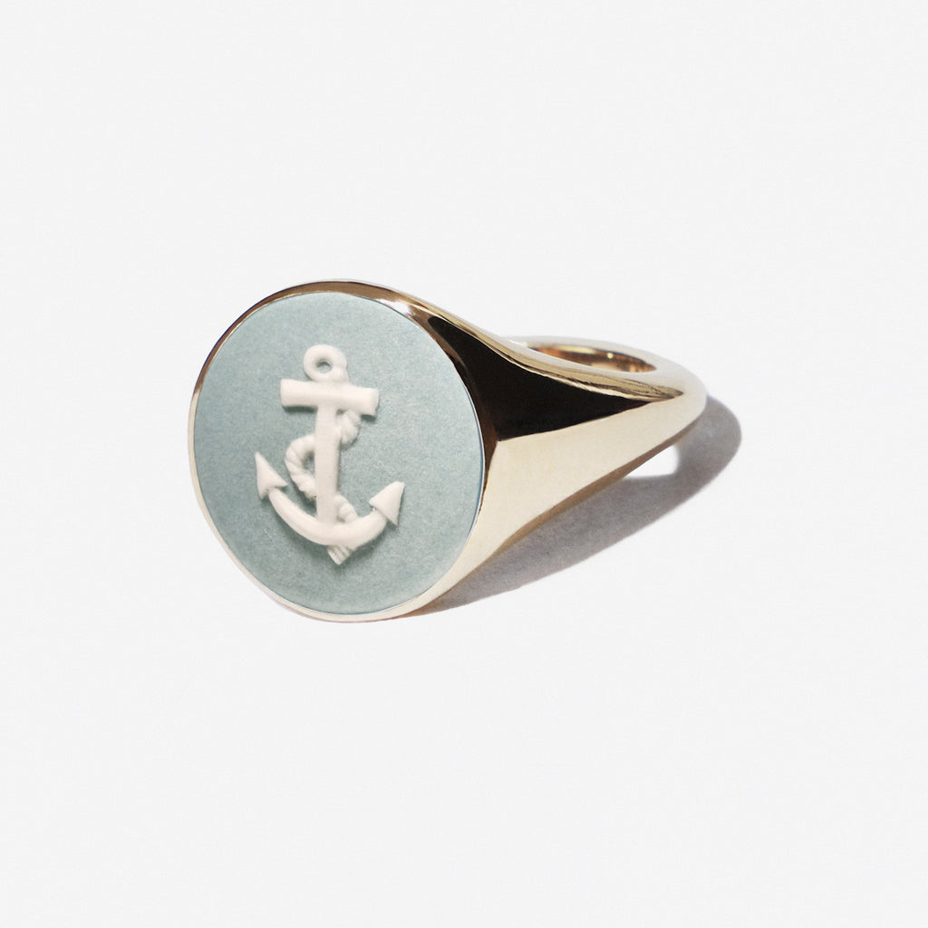 WEDGWOOD NAUTICAL AQUA/WHITE ANCHOR SIGNET RING