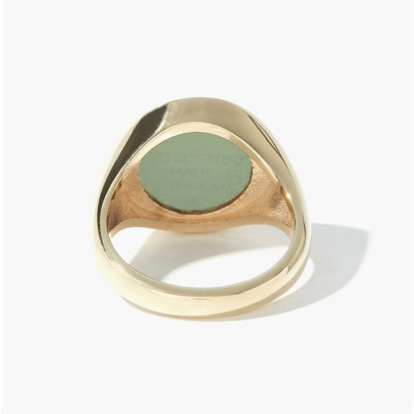 WEDGWOOD HORSE HEAD SAGE AND WHITE GOLD RING