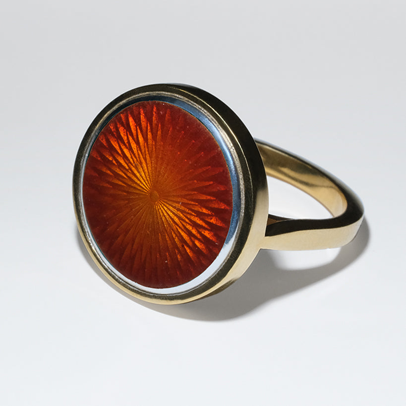 AMBER GLASS ENAMEL GOLD RING