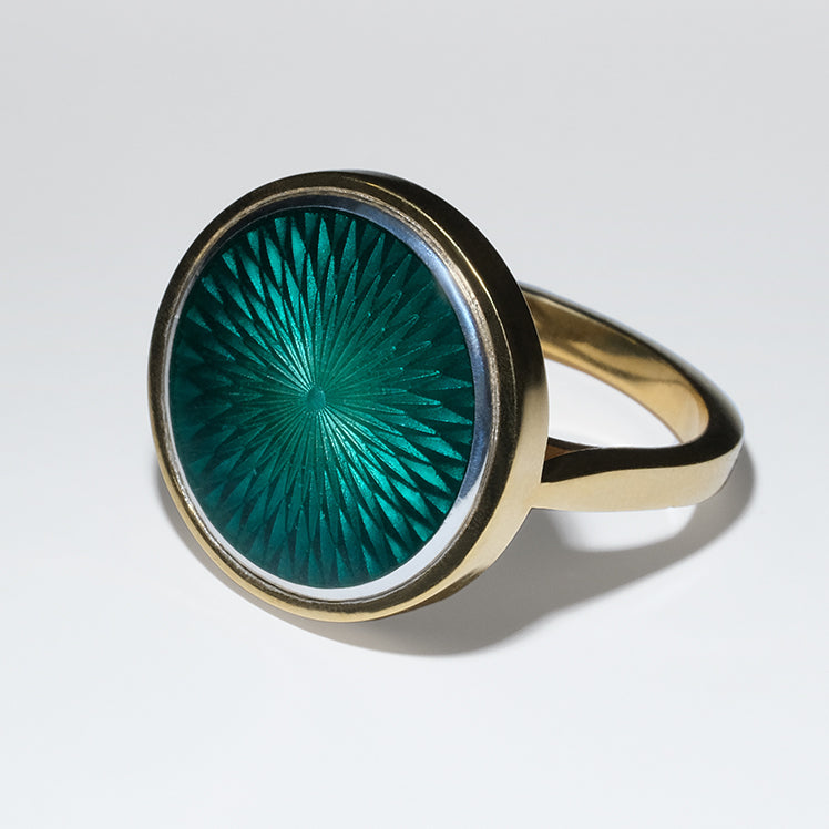 EMERALD GLASS ENAMEL GOLD RING