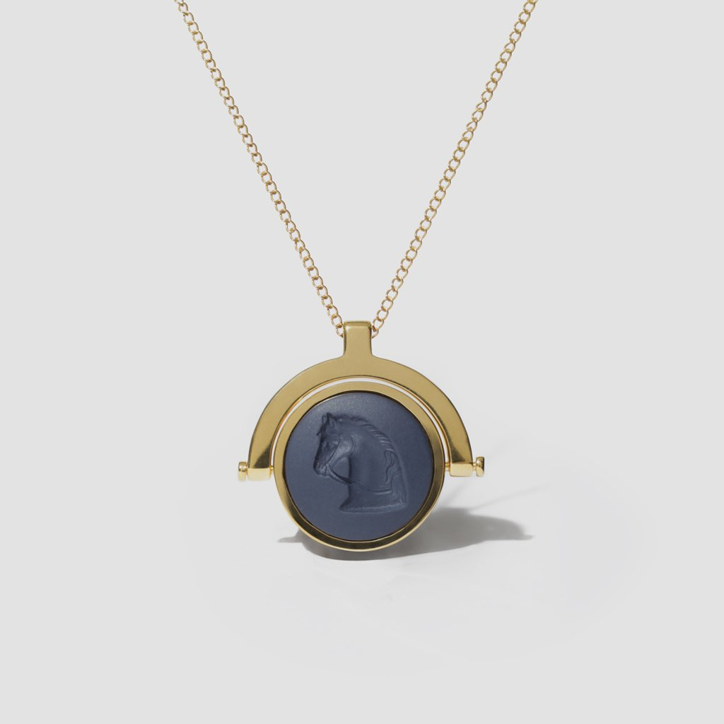 WEDGWOOD NAVY HORSE SWIVEL FOB NECKLACE