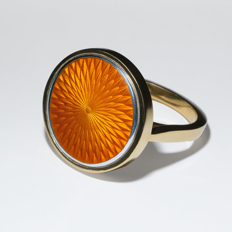 CORAL GLASS ENAMEL GOLD RING