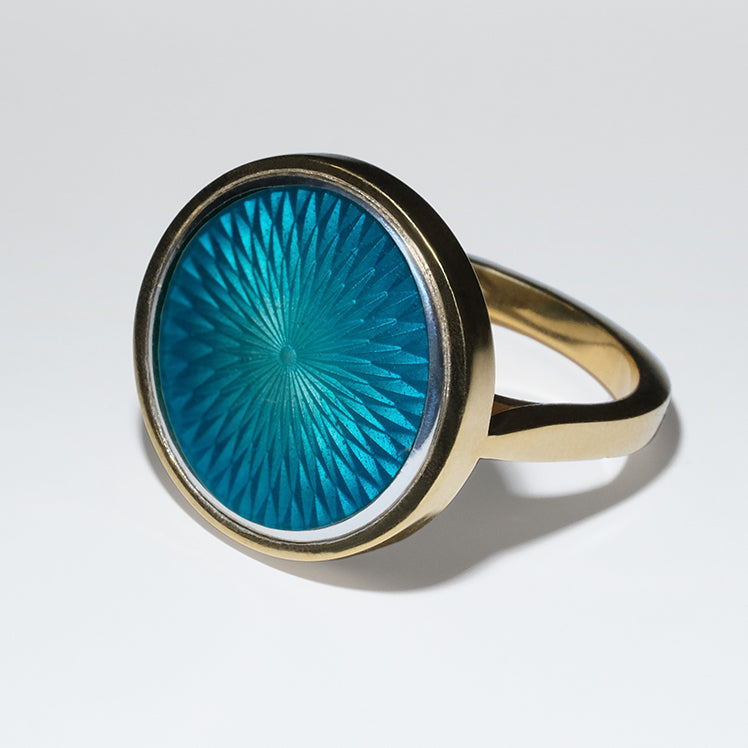 POOL GLASS ENAMEL GOLD RING