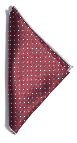Dotted pocket square - 301 wine/white