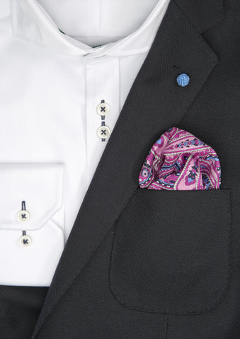 Silk Paisley Pocket square - 488 Pink
