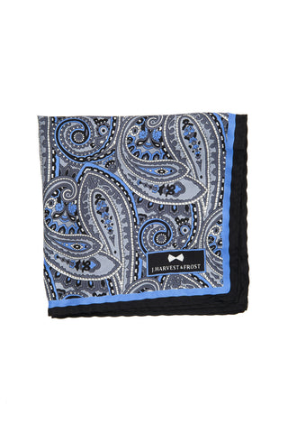 Silk Paisley Pocket square - 988 Grey