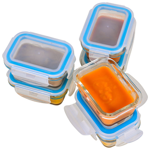 Elacra [6-Pack, 4oz] Glass Baby Food Storage Containers - Small Glass Containers with BPA-Free & Locking Lids - Freezer and Microwave Safe