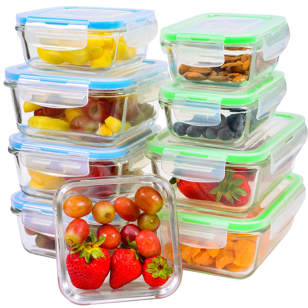 Glass Food Storage Containers 9-Piece-Glass-Storage-Containers-with-Lids Airtight-Leakproof Glass Meal Prep Containers Lunch Dishes