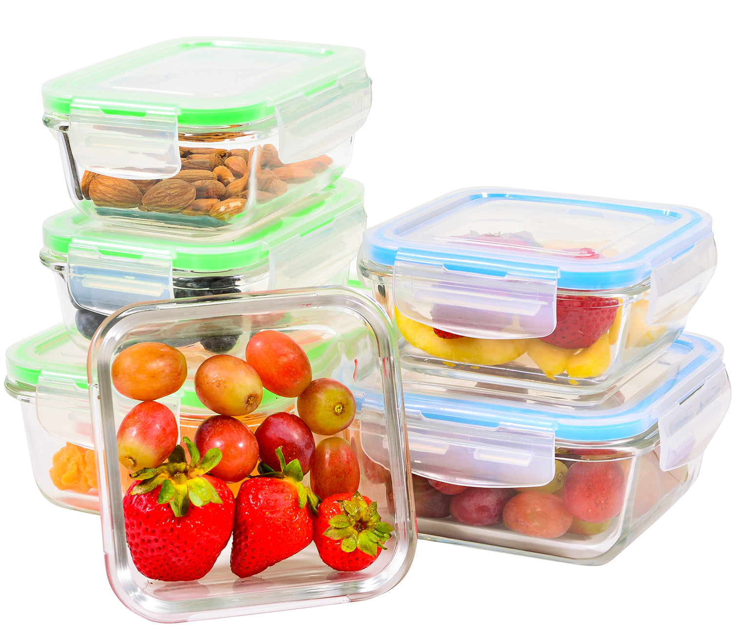 Elacra Glass Meal Prep Containers with Locking Lids [6-Piece] - Leakproof  Glass Food Storage Containers for Kitchen Organization and Storage - ...