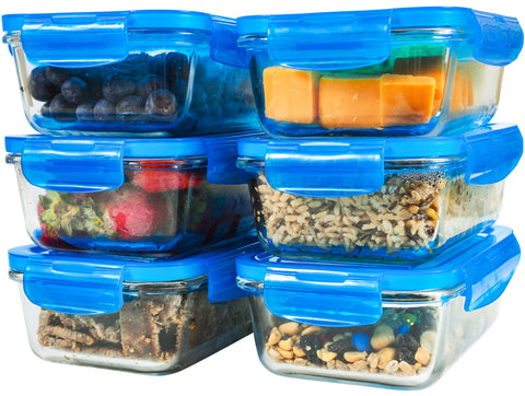 Elacra Glass Food Storage Containers [6-Pack, 28oz] - Glass Meal Prep Containers with Airtight and BPA-Free Locking Lids - 6 Glass Storage Containers & 6 Blue Lids
