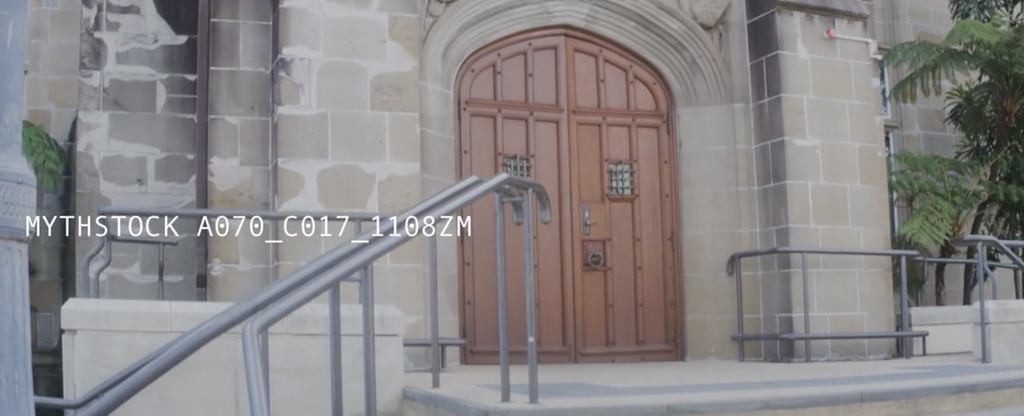 Impressive doors of sandstone building, University of Sydney - hand-held anamorphic shot